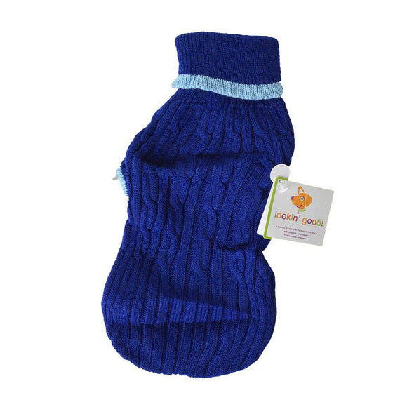 Fashion Pet Cable Knit Dog Sweater - Blue (8CBS)