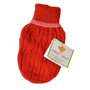 Fashion Pet Cable Knit Dog Sweater - Red (8RDXXS)