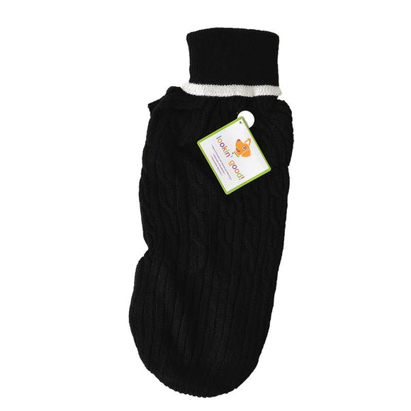 Fashion Pet Cable Knit Dog Sweater - Black (8BKMD)