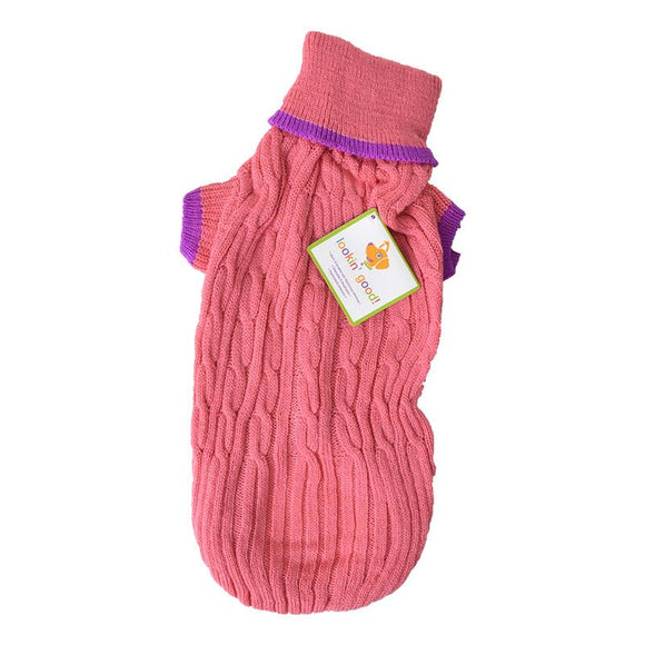 Fashion Pet Cable Knit Dog Sweater - Pink (8PKMD)