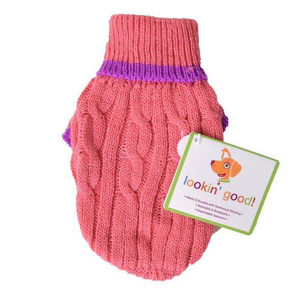 Fashion Pet Cable Knit Dog Sweater - Pink (8PKXXXS)