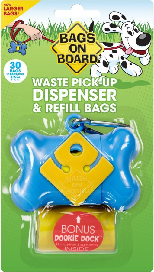 Bags on Board Bone Shaped Pick up Bag Dispenser - Blue (918B)