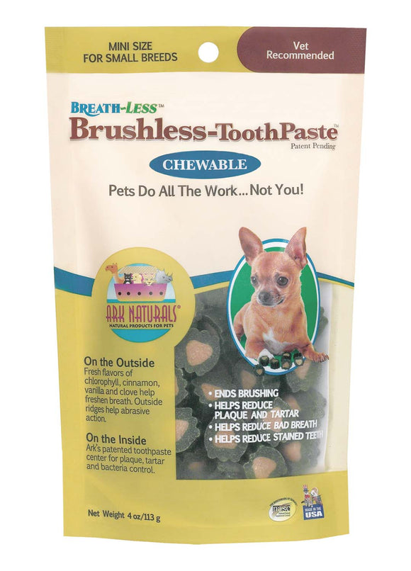 Ark Naturals Brushless Toothpaste Dental Chew for Dog Mini X 4 Oz