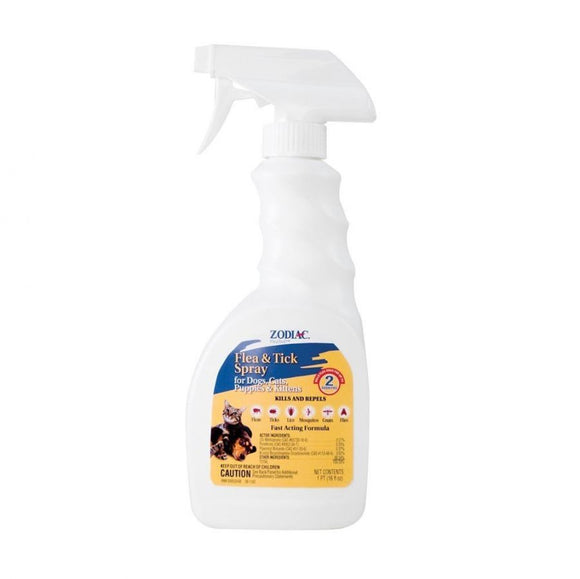 Zodiac Flea & Tick Spray for Dogs, Puppies, Cats & Kittens (62200)