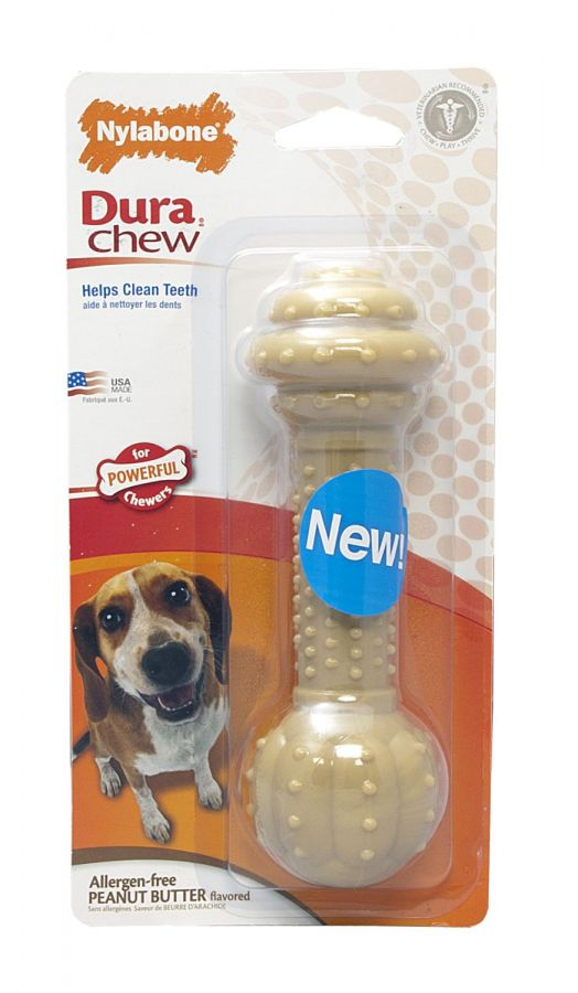 Nylabone Dura Chew Barbell Dog Chew Toy - Peanut Butter Flavor (NBC903P)