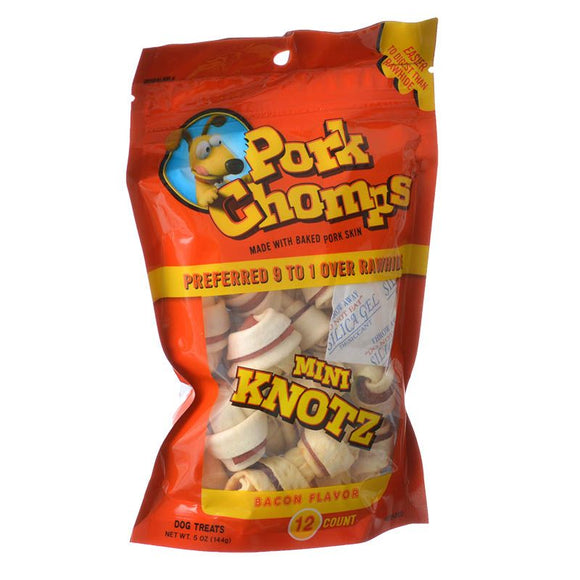 Pork Chomps Knotz Knotted Pork Chew - Bacon Flavor (DT342)