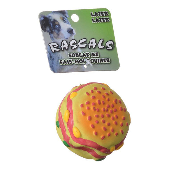Rascals Latex Hamburger Dog Toy (83022 R NCLDOG)