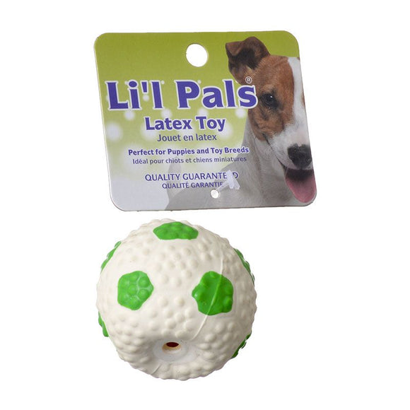 Lil Pals Latex Mini Soccer Ball for Dogs - Green & White (83206 GRN)