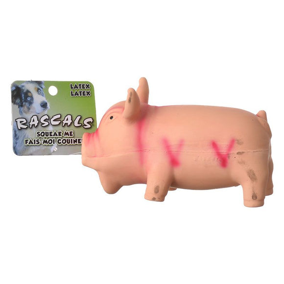 Rascals Latex Grunting Pig Dog Toy - Pink (83051 R PNKDOG)