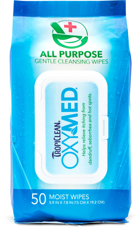 Tropiclean Oxymed All Purpose Gentle Cleansing Wipes For Dog 50 Count