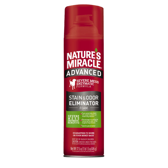 Nature's Miracle Advanced Stain & Odor Eliminator - Foam for Dog 17.5 Oz Aerosol