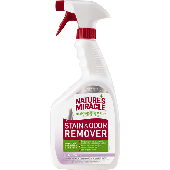 Nature's Miracle Lavender Scent Stain & Odor Remover Spray for Cat 32 Oz