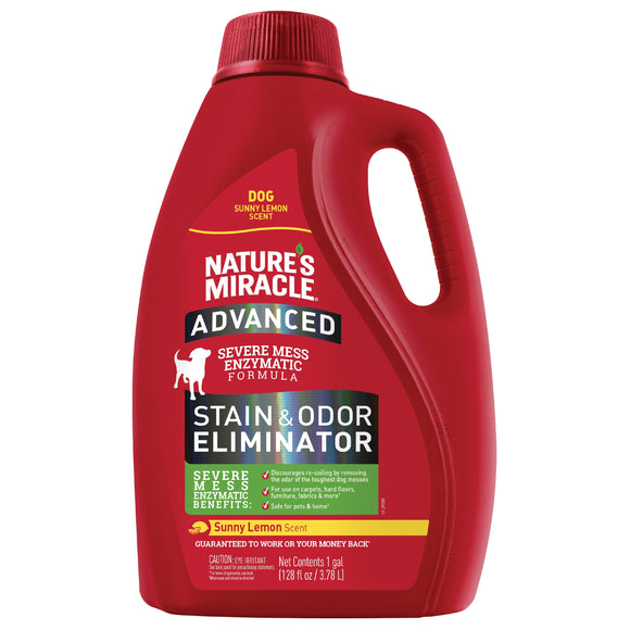 Nature's Miracle Sunny Lemon Scent Advanced Stain & Odor Eliminator Pour for Dog 128 Oz