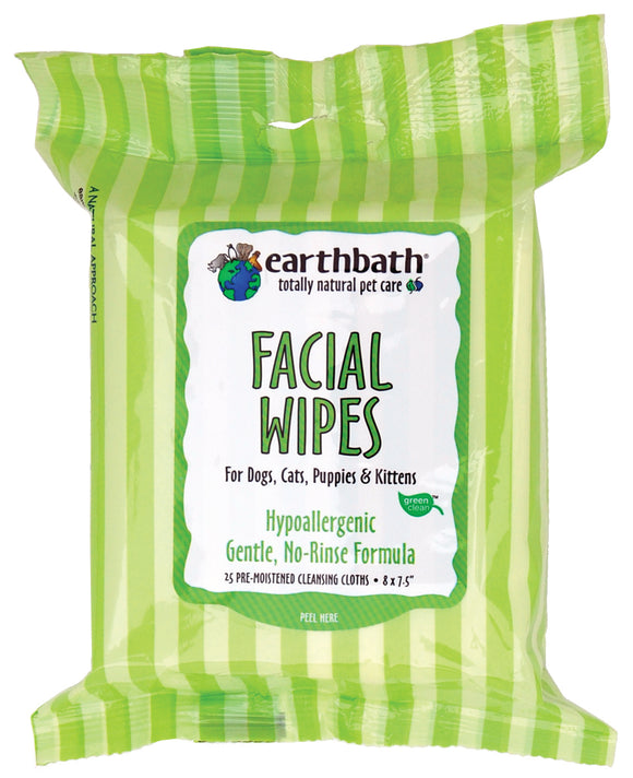 Earthbath Facial Wipes for Cat & Dog 25 Count