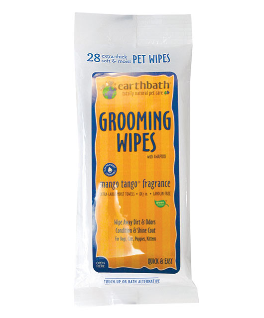 Earthbath Mango Tango Grooming Wipes for Cat & Dog 28 Count