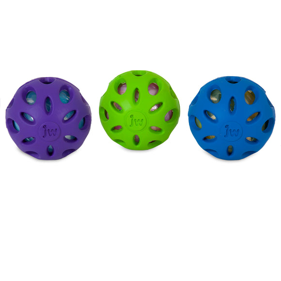 JW Crackle Heads Crackle Ball Dog Toys Assorted Color Medium