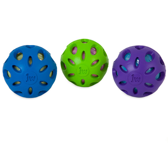 JW Crackle Heads Crackle Ball Dog Toys Assorted Color Large