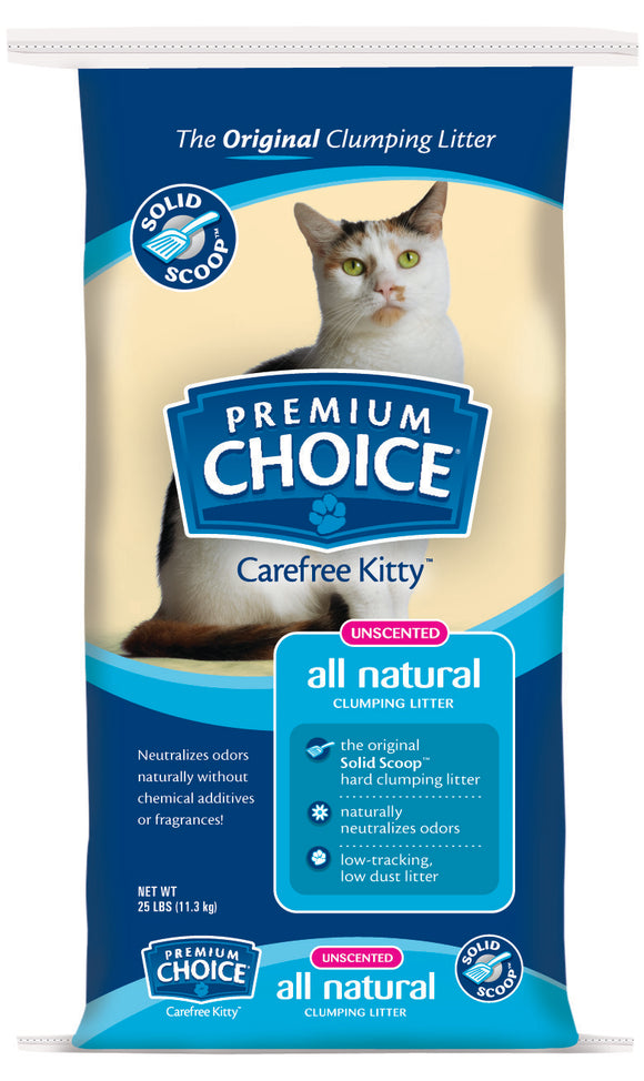 American Colloid Company Premium Choice Carefree Kitty Unscented All-Natural Clumping Litter 25 Lbs