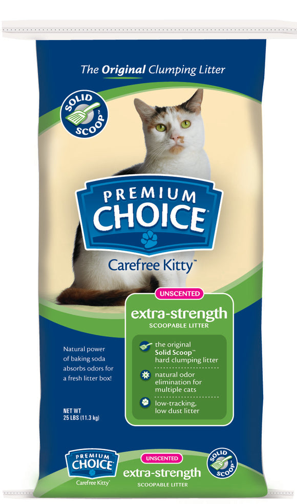 American Colloid Company Premium Choice Carefree Kitty Unscented with Baking Soda Clumping Litter 25 Lbs