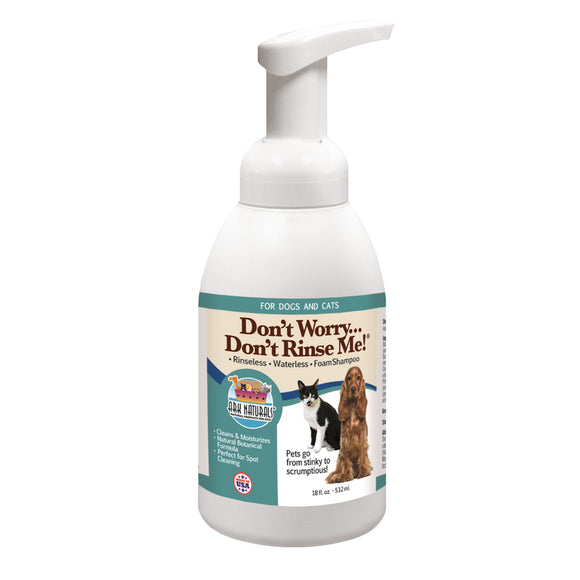 Ark Naturals Don't Worry Don't Rinse Me! Rinseless Waterless Foam Shampoo for Cat & Dog 18 Oz