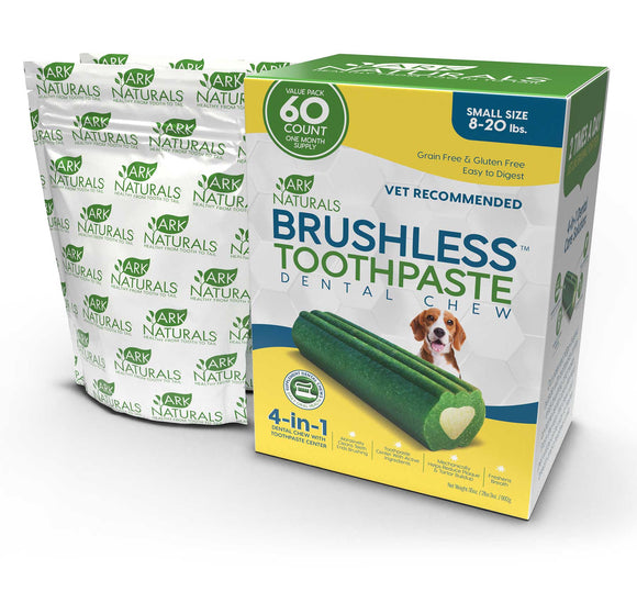 Ark Naturals 4-In-1 Brushless Toothpaste Dental Dog Chews Small 60 Count