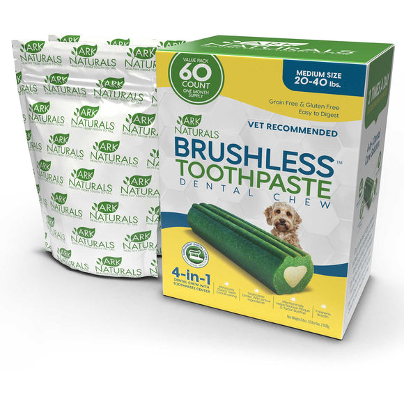 Ark Naturals 4-In-1 Brushless Toothpaste Dental Dog Chews Medium 60 Count
