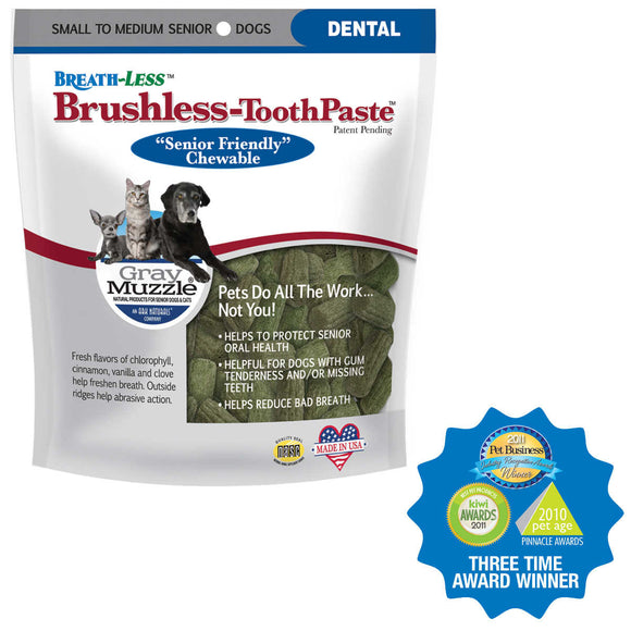 Ark Naturals Gray Muzzle Brushless Toothpaste Dog Dental Chew Small to Medium 4.1 Oz