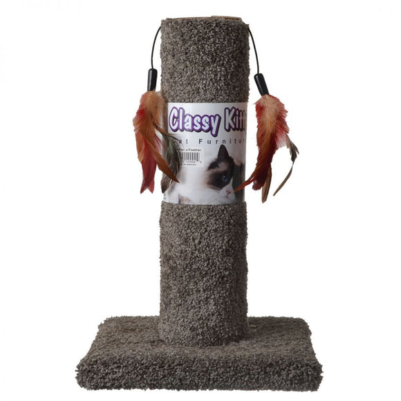 Classy Kitty Cat Scratching Post with Feathers (49002)
