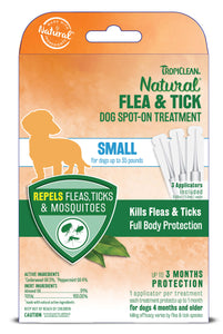 Tropiclean Natural Flea & Tick Spot On Treatsment for Dog 3 Count