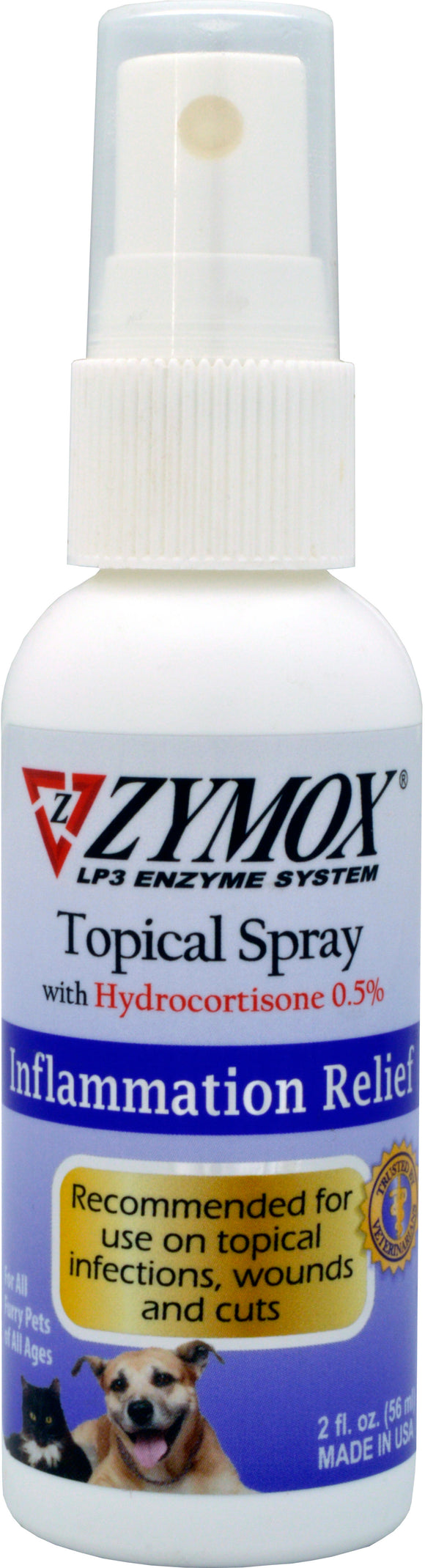 Zymox Topical Spray with 0.5% Hydorcortisone for Hot Spots & Skin Infections for Cat & Dog 2 Oz