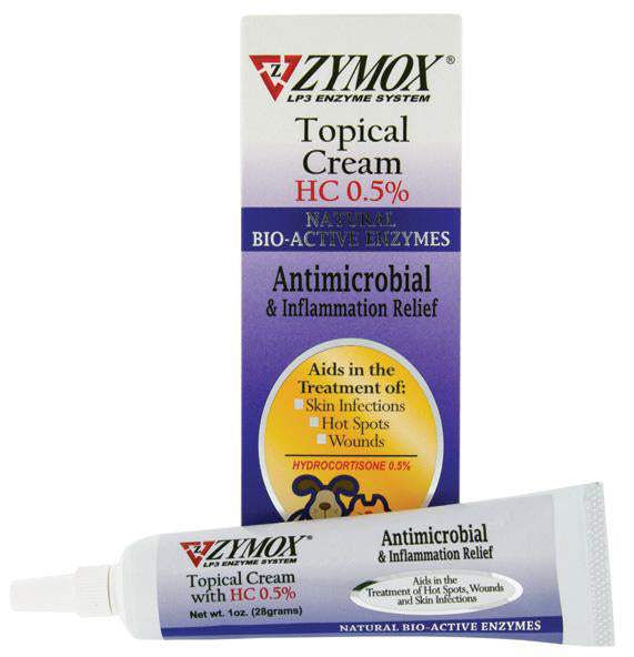 Zymox Topical Cream with 0.5% Hydorcortisone for Hot Spots & Skin Infections for Cat & Dog 1 Oz