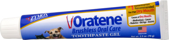 Zymox Oratene Brushless Oral Care Toothpaste Gel for Cat & Dog 2.5 Oz