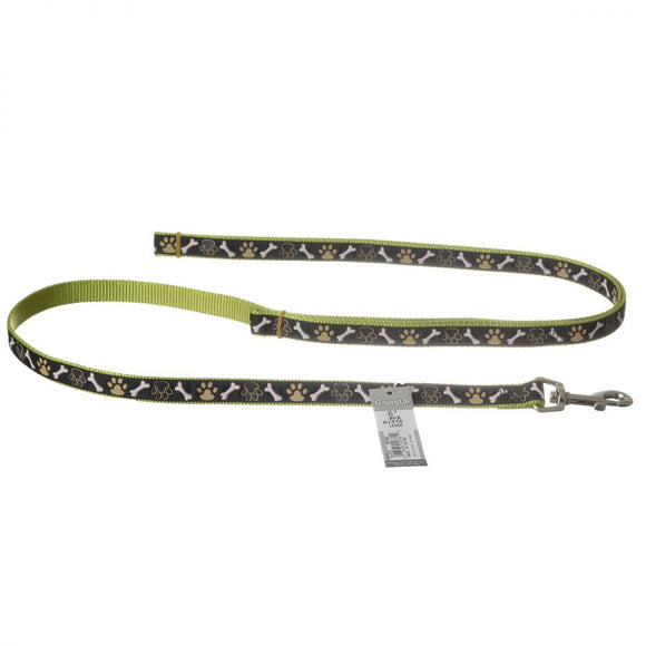 Pet Attire Ribbon Brown Paws & Bones Nylon Dog Leash (61476BPB)