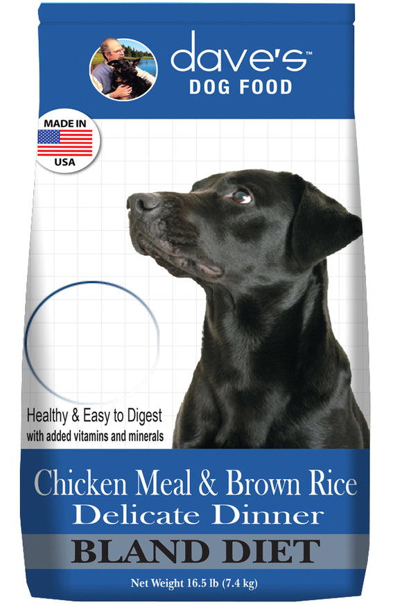 Dave's Restricted Diet Chicken Meal & Brown Rice Delicate Dinner Dry Dog Food 16.5 Lbs