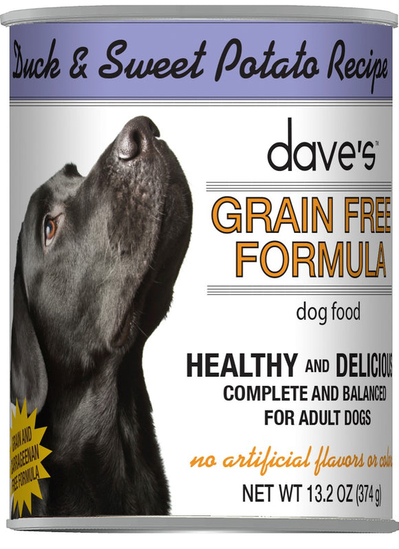 Dave's Healthy & Delicious Grain Free Duck & Sweet Potato Recipe Dog Food 13 Oz