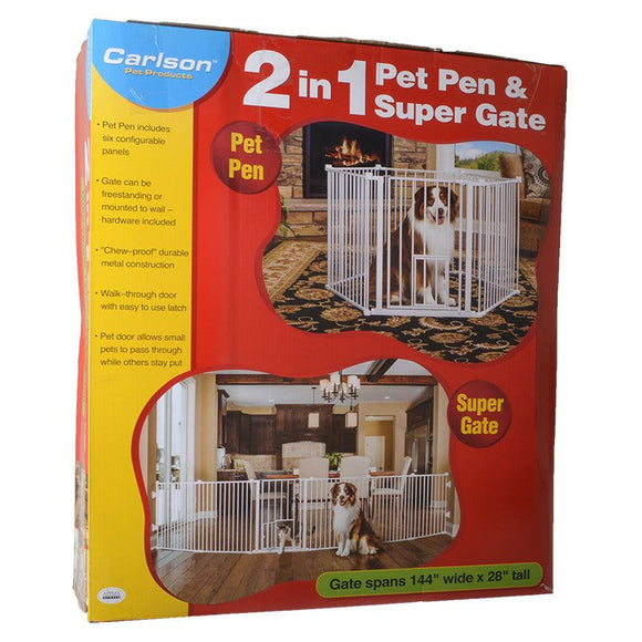 Carlson 2 in 1 Pet Pen & Super Gate (2600)