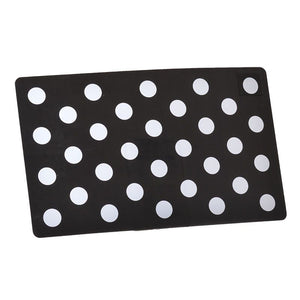 Petmate Plastic Food Mat - Black & White Dots (44906)