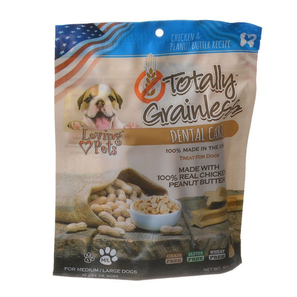 Loving Pets Totally Grainless Dental Care Chews - Chicken & Peanut Butter (5306)