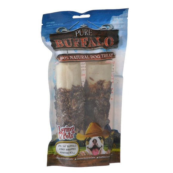 Loving Pets Pure Buffalo Jerky Wrapped Rawhide Rolls (5681)