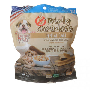 Loving Pets Totally Grainless Dental Care Chews - Chicken & Peanut Butter (5305)