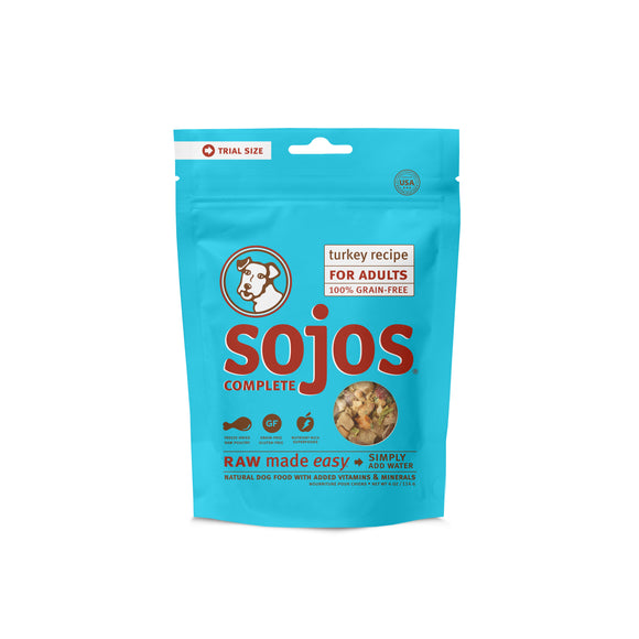 Sojos Complete Grain Free Turkey Recipe Dog Food Trial Pack 4 Oz