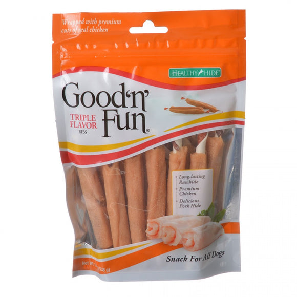 Healthy Hide Good 'n' Fun Triple Flavor Ribs - Rawhide, Chicken & Pork Hide (93337)