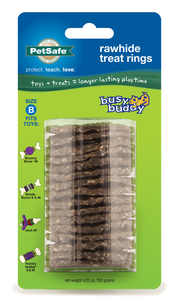 PetSafe Busy Buddy Sportsmen Ultra-Thick Natural Rawhide Rings for Dog Medium