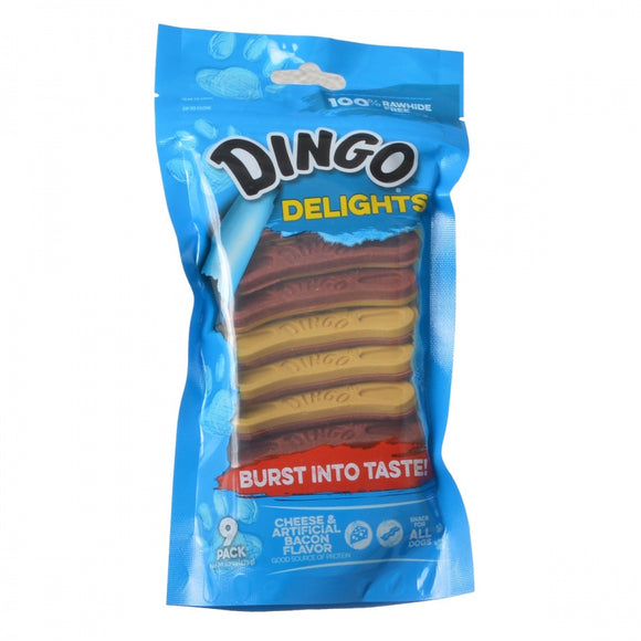 Dingo Delights Rawhide Free Dog Treats with Bacon & Cheese (94084)
