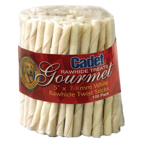 Cadet White Rawhide Twist Sticks Dog Treats 5 Inch X 7-8 MM X 100 Count