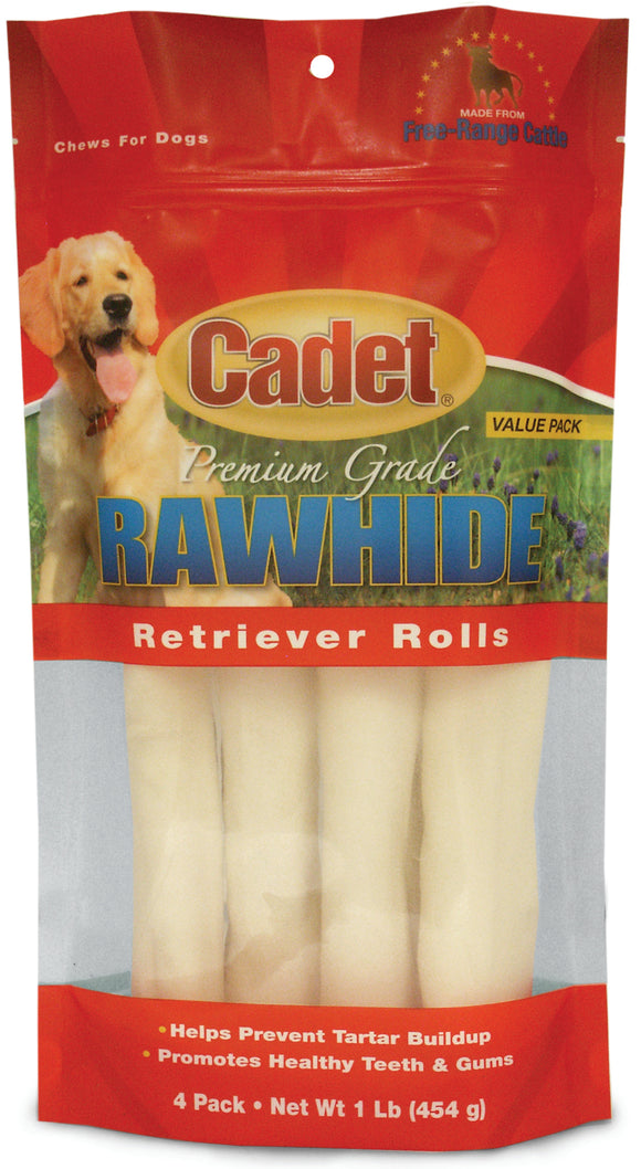 Cadet Premium Rawhide Retriever Roll Dog Treats 1 Lbs X 4 Count