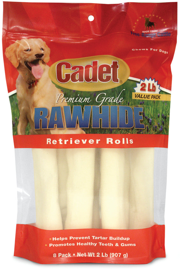Cadet Premium Rawhide Retriever Roll Dog Treats 2 Lbs X 8 Count