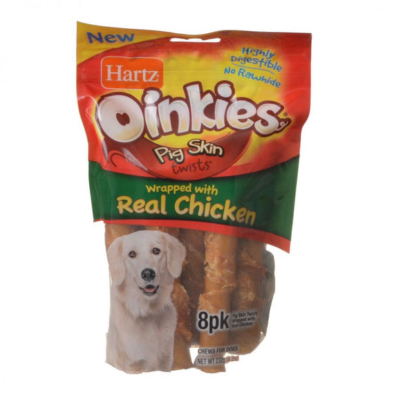 Hartz Oinkies Pig Skin Twists Wrapped with Real Chicken (15585)