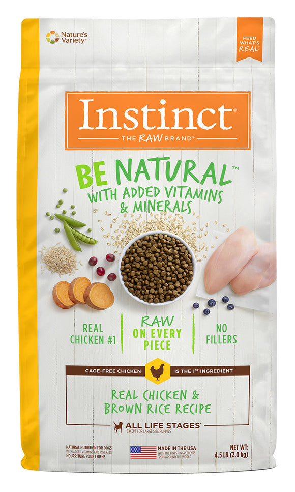 Instinct Be Natural Real Chicken & Brown Rice Recipe Dog Food 13.5 Lbs