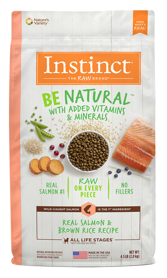 Instinct Be Natural Real Salmon & Brown Rice Recipe Dog Food 4.5 Lbs